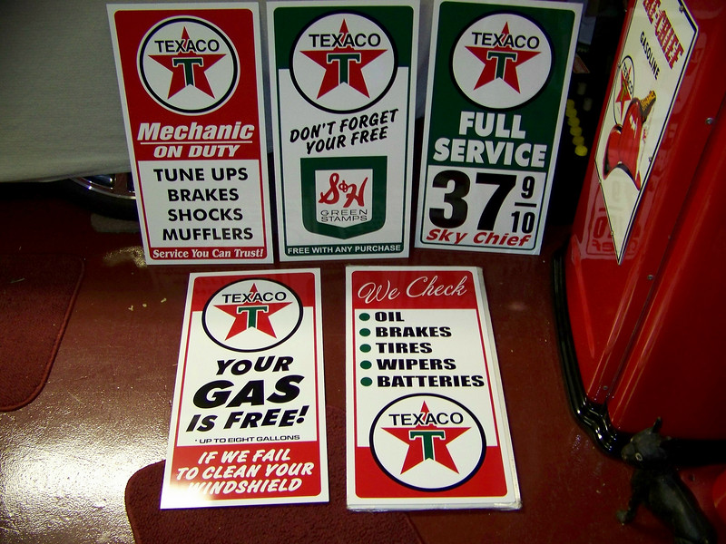 This is a reproduction Texaco station sign set that I acquired. These will be used in our Fort Worth, Texas garage in the near future when completed.