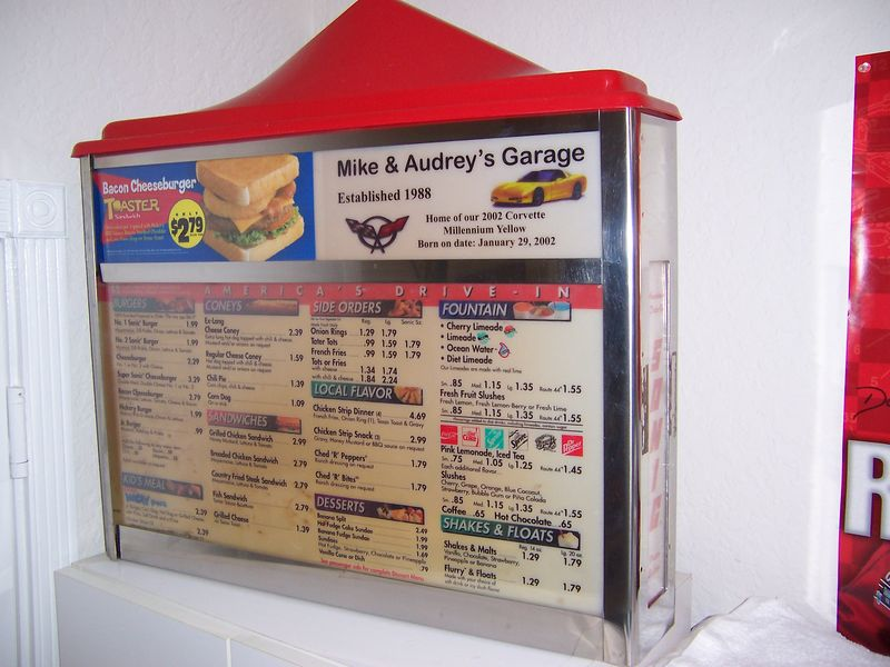 SONIC DRIVE-IN MENU BOARD