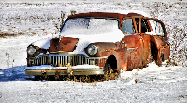 Old Cars In The Snow