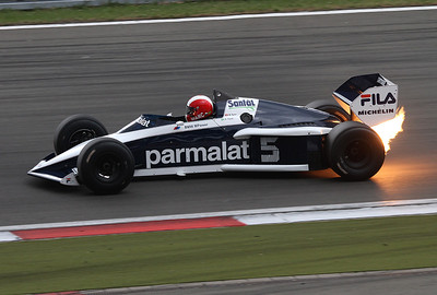 Marc Surer is doing some laps in the recently restored Brabham BMW of 1983. Nelson Piquet became Formula 1 World Champion in this car back in 1983.