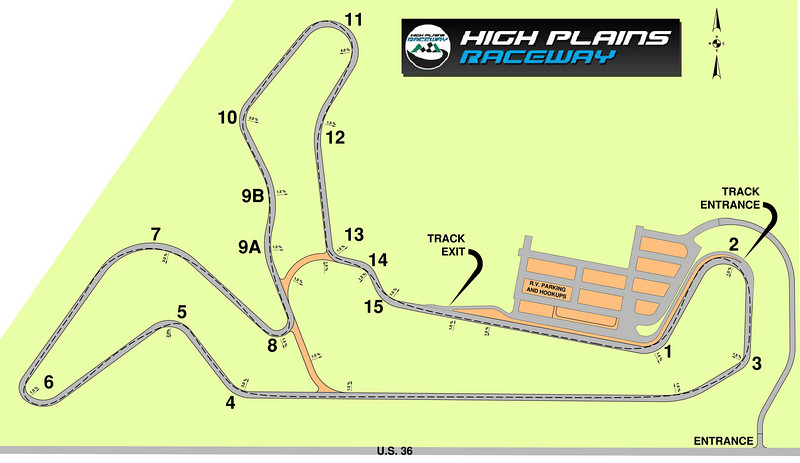 High Plains Raceway track layout. It is 2.5 miles long, lots of turns and elevation changes, driven clockwise.
