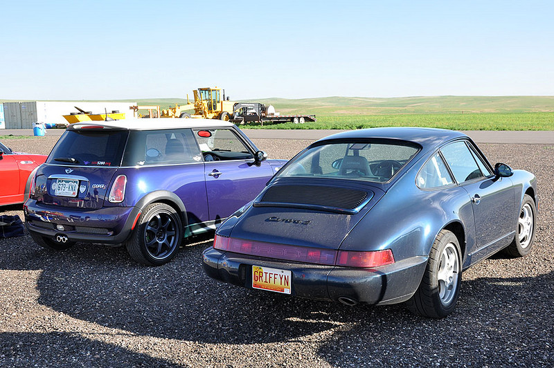 Rick (left) driving the track today and Liz (right) visiting and on her way to the 2009 Porsche Parade in Keystone, Colo.