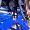 Rod end (heim joint) and pin replace stock lower outer ball joints on rear suspension.