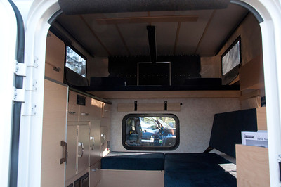 Inside one of the pickup pop up campers.