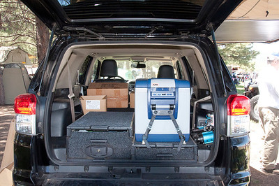 Inside the ARB 4Runner. Note the drawers, fridge and air compressor.