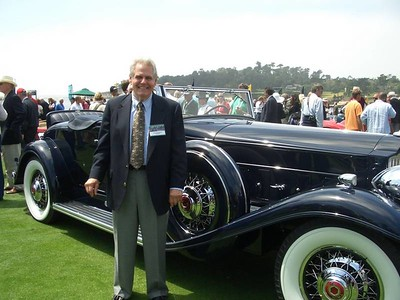 Tom Moretti with his Packard 905 Twin Six Coupe Roadster at Pebble Beach