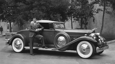 Clark Gable with his 1932 Packard Twin Six Coupe Roadster