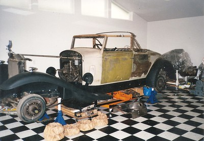 1932 Packard 905 Twin Six Coupe Roadster during restoration