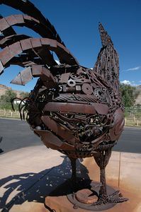 Another metal sculpture, composed of many different bits. This is Henny Penny's Dad, by Lesle Nichols.
