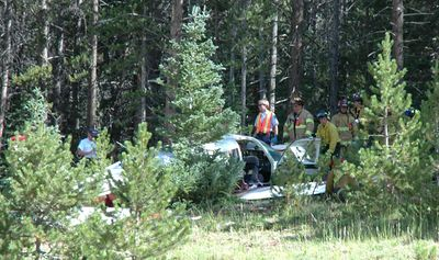 The pilot and passenger were injured but not seriously. They were attempting to fly east over the pass when they lost altitude, touched eastbound I-70 twice before clipping the median with the left wing tip and coming to rest on the westbound embankment.