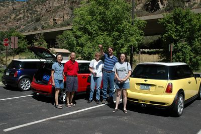 Part way through Glenwood Canyon, we stop for a short break at the Hanging Lake rest area. From left, Eleanor, Whitlow, Nancy, Dave and Wendy.