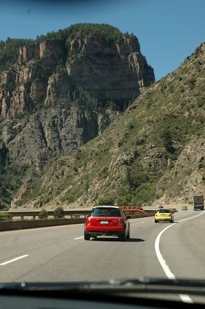 I-70 through Glenwood Canyon features parkway style guard rails.