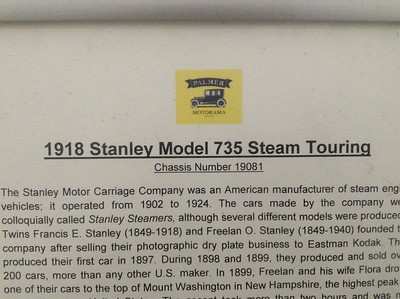 1918 Stanley Model 735 Steam Touring - Information Signs - Palmer Motorama - Vintage Cars, Rare Cars, Sports Cars and Luxury Cars. Palmer Coolum Resort, Sunshine Coast, Qld, AUS; Saturday 14 June 2014. iPod Touch photos.