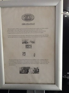 1909-1914 Fiat - Information Signs - Palmer Motorama - Vintage Cars, Rare Cars, Sports Cars and Luxury Cars. Palmer Coolum Resort, Sunshine Coast, Qld, AUS; Saturday 14 June 2014. iPod Touch photos.