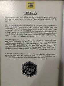 1927 Essex - Information Signs - Palmer Motorama - Vintage Cars, Rare Cars, Sports Cars and Luxury Cars. Palmer Coolum Resort, Sunshine Coast, Qld, AUS; Saturday 14 June 2014. iPod Touch photos.