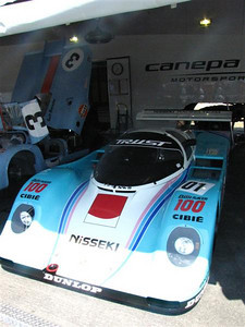 Porsche 962C. Driven in only three races and still in its original configuration from the Porsche factory. This car raced at Le Mans in 1990 (13th) and 1991 (dnf - gearbox), then entered and won a Japanese National Championship race at Autopolis in 1991. Then the car was cleaned and retired to museum duty.