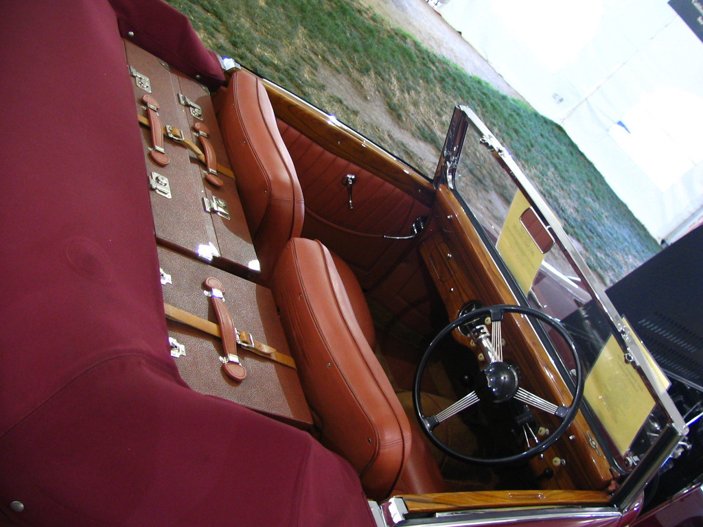 Delahaye 135MS Guillore Roadster. The car comes with custom Louis Vuitton luggage.