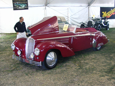 Delahaye 135MS Guillore Roadster. This is a one-off body of the 135 chassis with many first place finishes in concours around the country. The car came fitted with custom Louis Vuitton luggage
