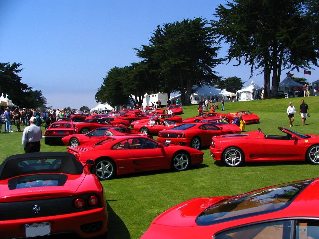 Ferraris on the field at Concorso Italiano