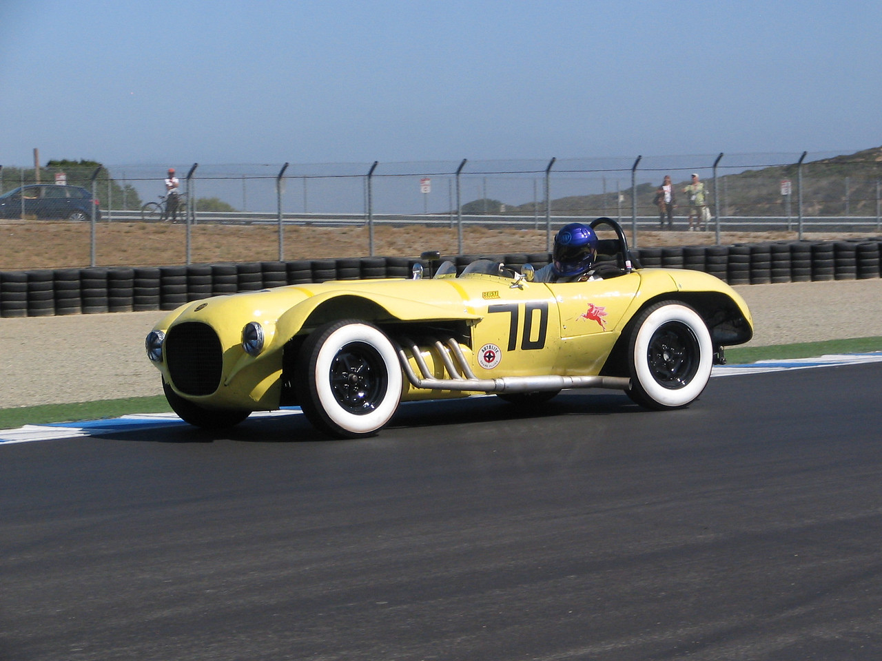 """Balchowsky Buick Special (Old Yeller II). This has been a crowd favorite for the last several years. It was built using a 'homemade' chassis and a Buick V8. The car was built by the Hollywood Motors shop in 1959 using many off-the-shelf aircraft parts. It regularly competed in southern California road racing events, giving the more-developed factory Jaguars and Ferraris a challenge. For more information on this interesting car, go to  <a href=""""http://oldyeller2.com/index.html"""">http://oldyeller2.com/index.html</a>"""
