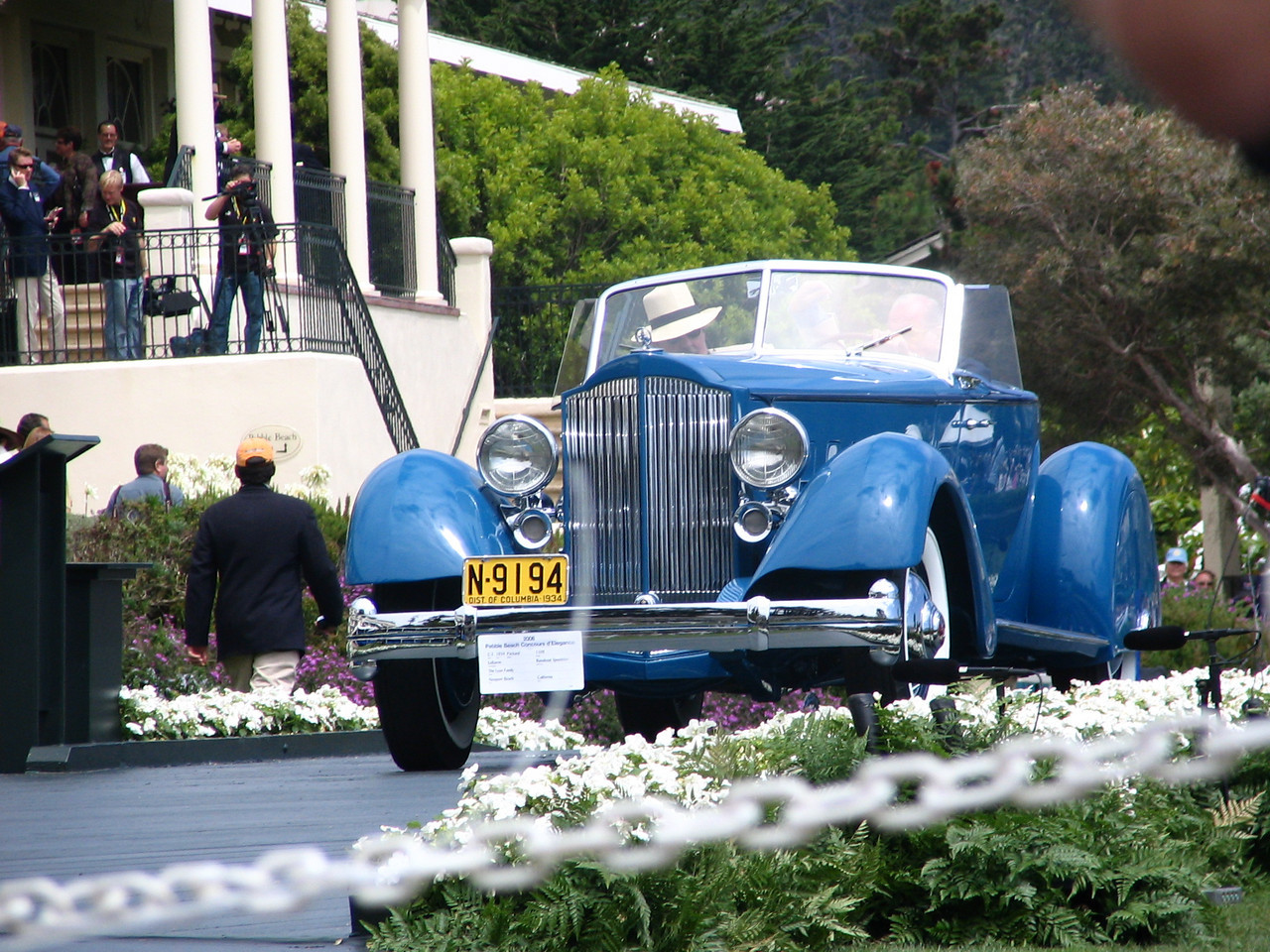 Pebble Beach Concours Master of Ceremonies Edward Hermann arriving