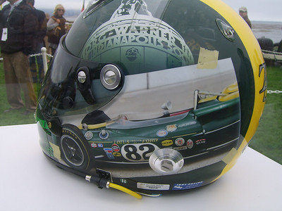 HISTORIC HELMET -- The Borg-Warner tropy and the green Lotus Jim Clark drove to victory in the 1965 Indianapolis 500 are depicted in a tribute helmet on display during the 60th Pebble Beach Concours d'Elegance.