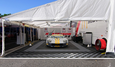 Thursday morning, one of the GT2 Robertson Racing Ford GT's sits in its paddock waiting for the start of practice.