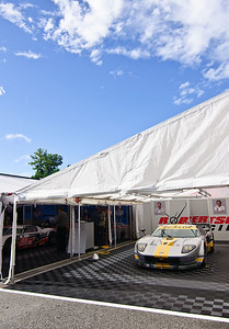 Thursday morning, the GT2 Robertson Racing Ford GT's sit in their paddocks waiting for the start of practice.