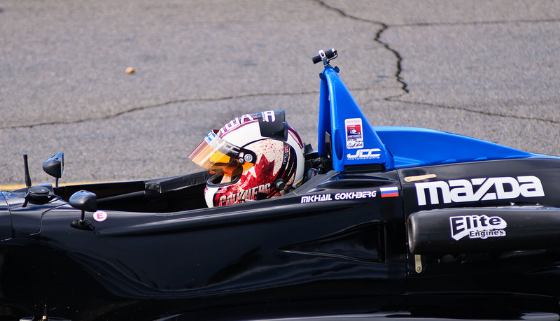 Mikhail Gokhberg waiting for the start of the Thursday morning USF2000 practice session.