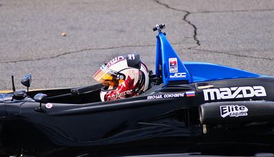 Mikhail Gokhberg waiting for the start of the Thursday morning USF2000 practice session.