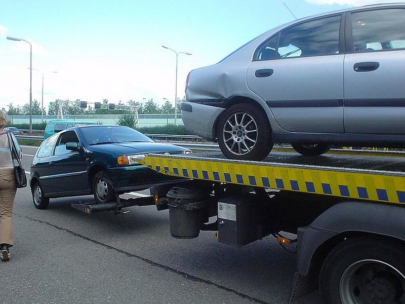 Cars ready to be towed