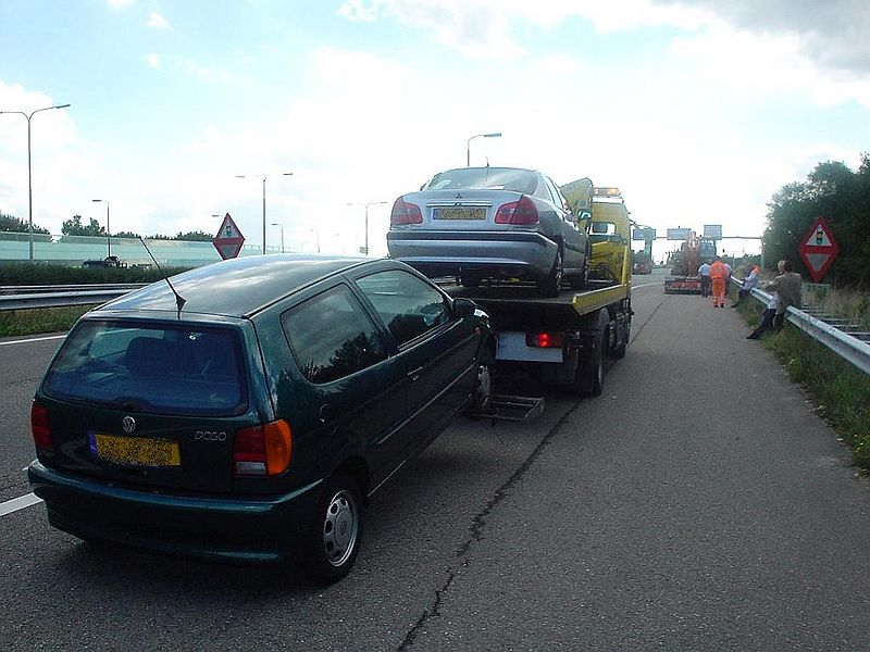 Both cars ready to be towed away