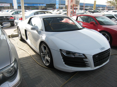 White Audi R8.  A cute little thing, but I like Madame better.