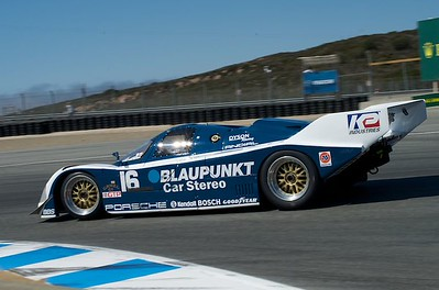 Porsche 962 in Laguna Seca turn eleven. 1988 Porsche 962 Blaupunkt No. 16 IMSA GTP Championship winner  for Dyson Racing,