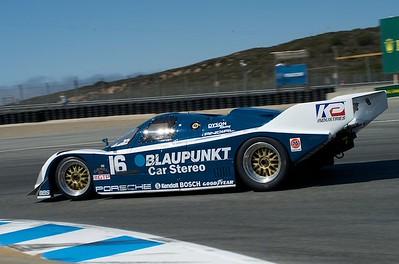 Porsche 962 in Laguna Seca turn eleven. 1988 Porsche 962 Blaupunkt No. 16 IMSA GTP Championship winner  for Dyson Racing,