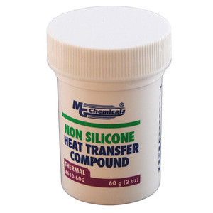 """MG Chemicals """"Non Silicone"""" Heat Transfer Compound  Part number: 8610-60G  It happens to have better heat transfer properties than the """"silicone"""" heat transfer compound that they also produce."""