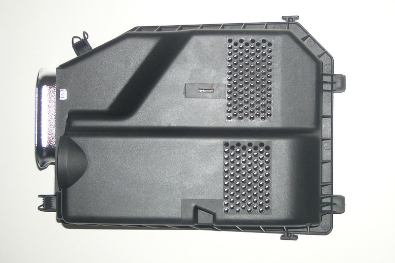"""Motorsound Airbox Cover - Porsche Accessory<br /> <br /> For anyone wishing to drill holes in their stock airbox cover, here are the details:<br /> Upper zone: 8 columns of alternating 12 and 13 holes.<br /> Lower zone: 8 columns of alternating 10 and 11 holes<br /> Hole diameter: 4.2 mm or 0.165"""" (No 19 drill bit)."""