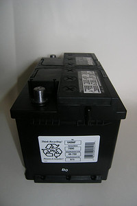 The B0 sticker on the side indicates that the battery was manufactured and filled in February 2010.  Purchased in April 2010, that makes it a battery that hasn't had the chance to sit around very long. The OCV measured at 12.65 V which is acceptable for a flooded lead acid battery. It was placed on a slow charge prior to installation.