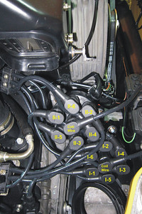 The routing at the distributor cap of the new Beru ignition cables.  I: upper spark plugs. II: lower spark plugs.