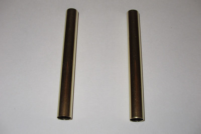 Two pieces of brass tubing were used as guides for sliding the clutch slave cylinder into place while over coming the spring tension that keeps the clutch slave cylinder rod extended.  These brass tubes were 75 mm long initially and found to be too long, They were then cut down to 50 mm.  Tubing used was from K&S Engineering, part number: K&S 134. OD: 11/32 inch. ID: 0.316 inch (just over 8 mm to fit over the 8 mm studs). Wall thickness: 0.014 inch.
