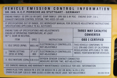 Vehicle Emission Control Information label for a 1995 Porsche Carrera 911 (993).  Note: this model year is OBD I Certified, although the later models within that model year had the OBD II J1962F connection port.