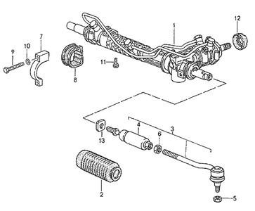 "The steering rack parts diagram for a Porsche 993.  Part #13 is listed as a ""washer"". Part number: 993 347 325 01."