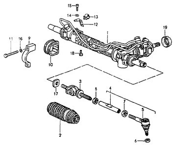 """The steering rack parts diagram for a Porsche 964.<br /> <br /> Part #17 is listed as a """"steer angle limitation"""".<br /> Part number: 964 347 325 02 or 964 347 325 00 (Turbo Look model).<br /> <br /> According to Bill Verburg on Rennlist, they are just washers that fit on the end of the steering rack to limit it's extension, there are different thicknesses; 964 347 682 70 is probably the thickest and was used on 964 Cup when 18s were fitted."""