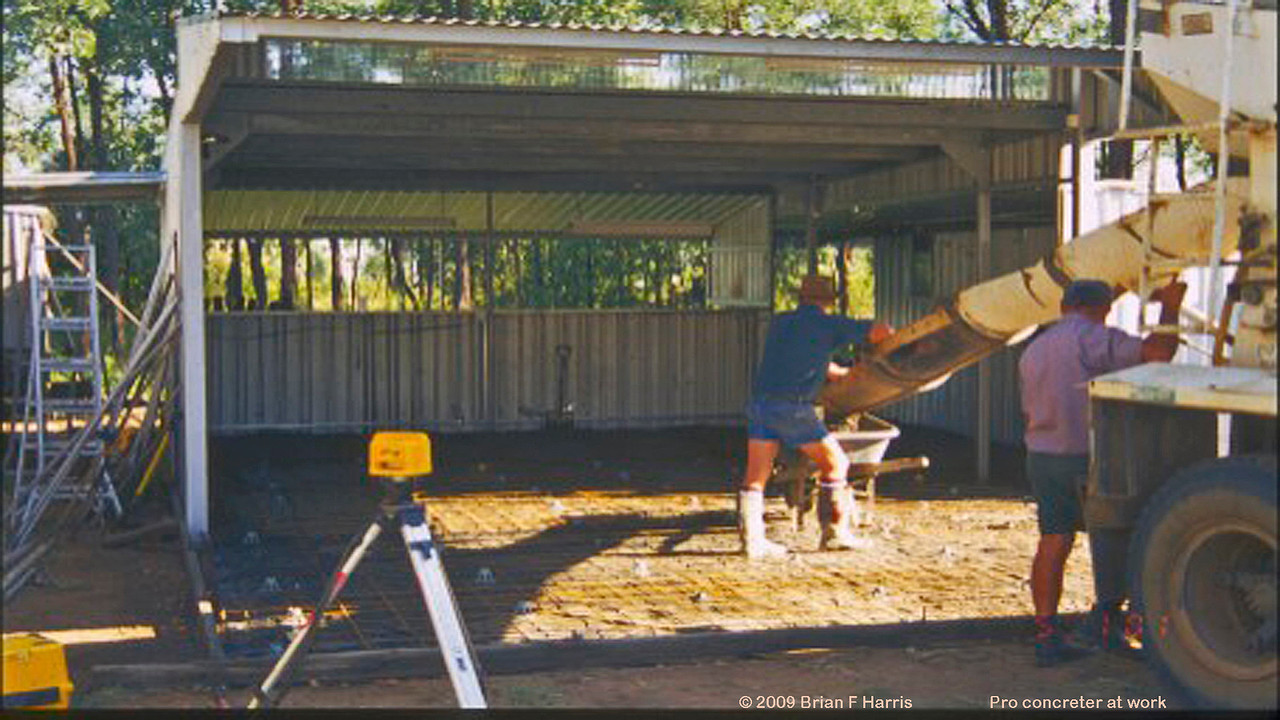The professionals pour the concrete for my double car shed at Talafa. What a difference a good concrete floor makes.