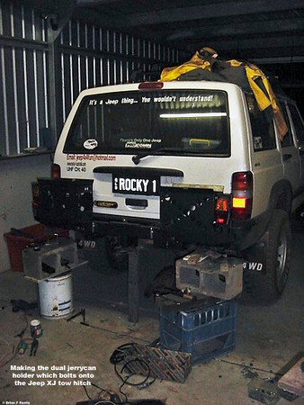 My 'bolt on' twin jerrycan holder on Jeep Cherokee XJ 2.5 turbo diesel for the adventure into the Victorian High Country with Geoff & Lisa Portman on one of their professional escorted tours.