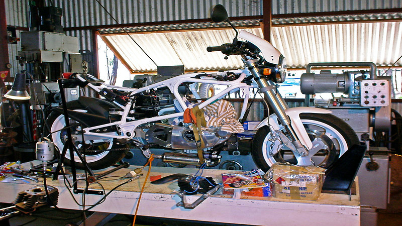 Good friend of ours has this Buell out on the Central Queensland gem fields and just has to tinker with it. As per the workshop machines shown, he does engineering type work and turns out magic products. He also has another Harley.