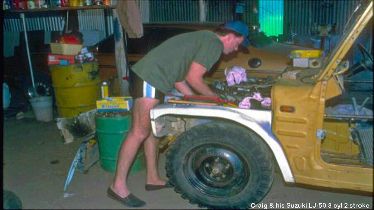 Craig fitting a re-cycled 3 cylinder two stroke engine in his LJ-50 Suzuki 4x4. Yes. He did  get the vehicle running and registered.
