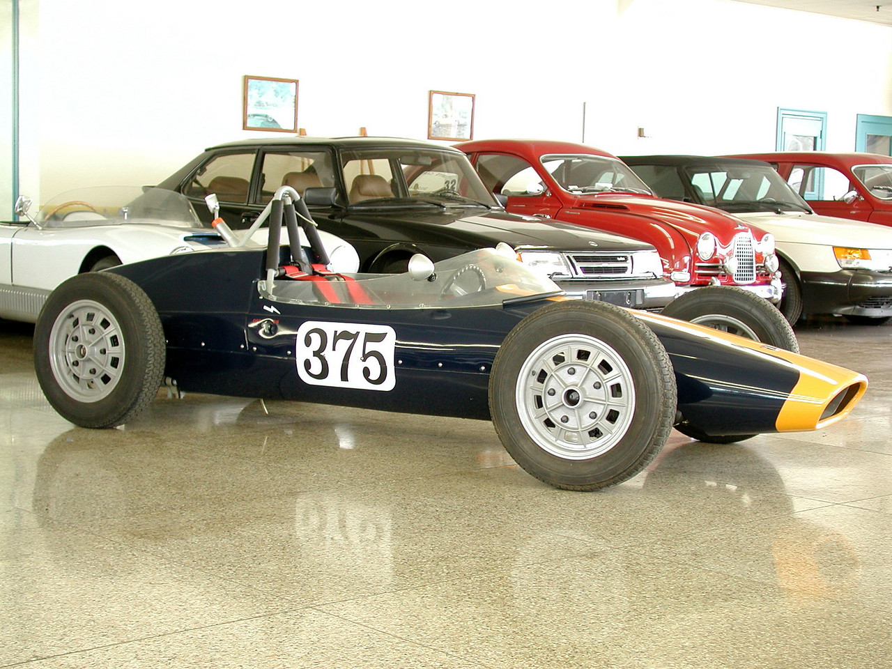 This collection, located in the main showroom, includes many vintage and extremely rare Saab models