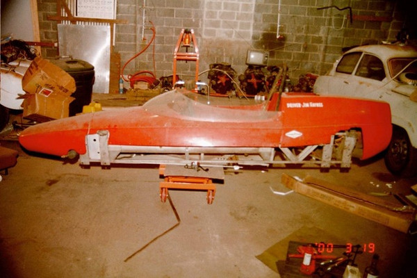 """Original body on newly sandblasted chassis. Date is March 2000. Lettering on engine cover reads """"Driver Jim Haynes"""""""