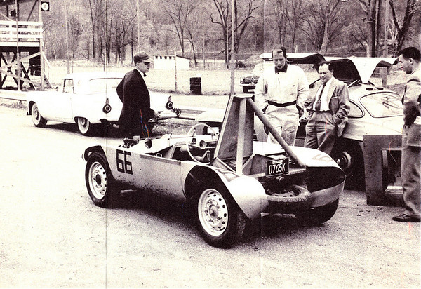 """John Fitch (in driving suit) test drove the car at Lime Rock. 1959""<br /> <br /> Photo and caption from <br /> <a href=""http://photos.at-speed.com/gallery/5272817_LyGAL"">http://photos.at-speed.com/gallery/5272817_LyGAL</a>"
